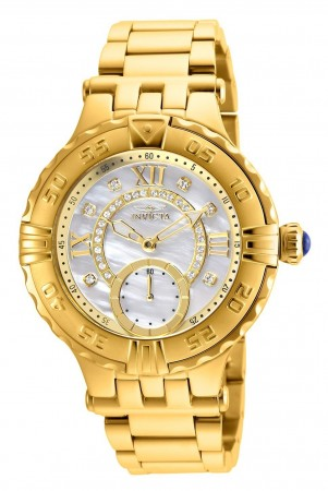Women's Subaqua Mother Of Pearl Dial Gold Stainless Steel Band Quartz Watch