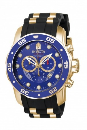 Men's Pro Diver Blue Dial Black, Gold Tone Inserts Polyurethane, Stainless Steel Band Quartz Watch
