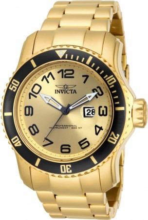 Men's Pro Diver Gold Dial Gold Tone Stainless Steel Band Quartz Watch