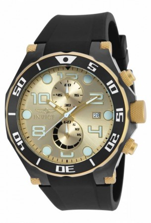 Men's Pro Diver Gold Dial Black Polyurethane Band Quartz Watch