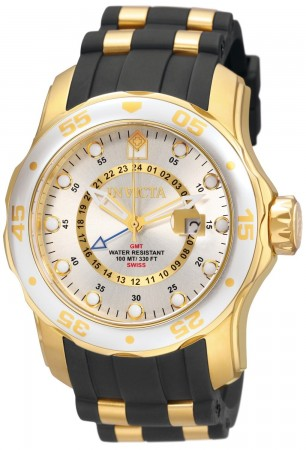 Men's Pro Diver Silver Dial Black/Gold Polyurethane/Stainless Steel Band Quartz Watch
