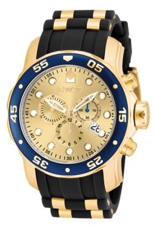 Men's Pro Diver Gold Dial Black, Gold Tone Polyurethane Band Quartz Watch