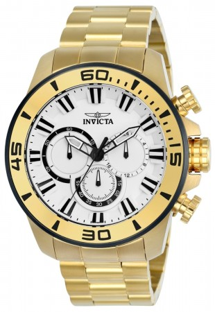 Men's Pro Diver White Dial Gold Stainless Steel Band Quartz Watch