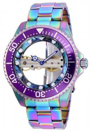Men's Pro Diver Multi Dial Iridescent Stainless Steel Band Mechanical Watch