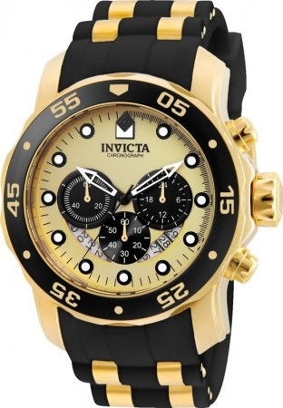 Men's Pro Diver Gold Dial Black/Gold Polyurethane/Stainless Steel Band Quartz Watch