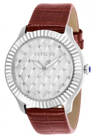 Women's Angel Silver Dial Red Leather Band Quartz Watch