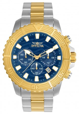 Men's Pro Diver Blue Dial Gold Tone, Stainless Steel Stainless Steel Band Quartz Watch