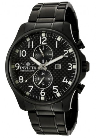 Men's Specialty Black Dial Black Stainless Steel Band Quartz Watch