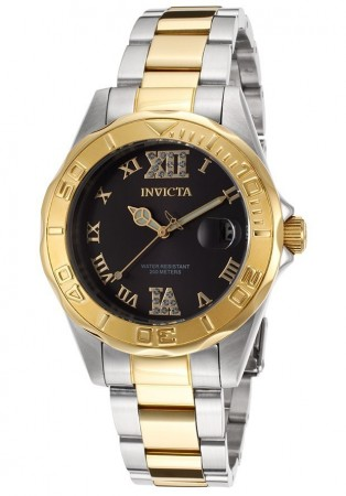 Women's Pro Diver Black Dial Gold Stainless Steel Band Quartz Watch