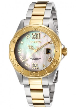 Women's Pro Diver Silver Dial Gold Tone, Stainless Steel Stainless Steel Band Quartz Watch