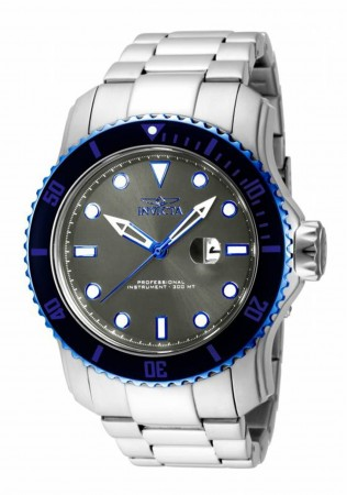 Men's Pro Diver Grey Dial Stainless Steel Stainless Steel Band Quartz Watch
