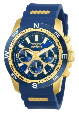 Men's I-Force Blue Dial Blue/Gold Polyurethane Band Quartz Watch