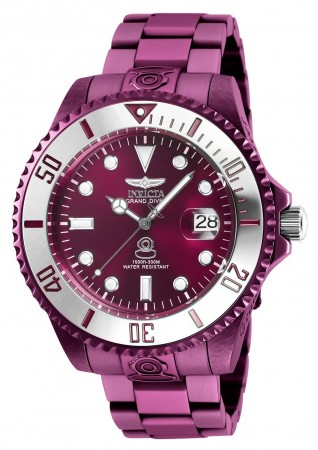 Men's Pro Diver Burgundy Dial Burgundy Stainless Steel Band Automatic Watch