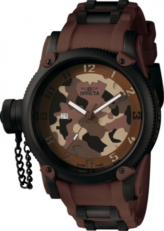 Men's Russian Diver Camouflage Dial Brown Polyurethane/Stainless Steel Band Quartz Watch