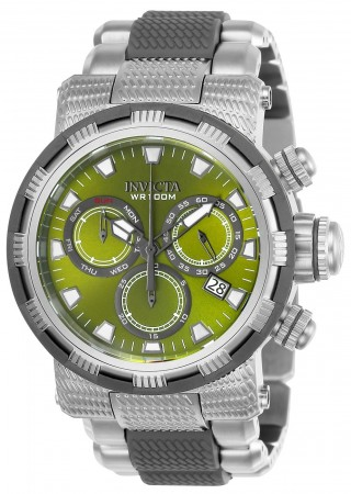 Men's Specialty Green Dial Gun Metal/Stainless Steel Polyurethane/Stainless Steel Band Quartz Watch