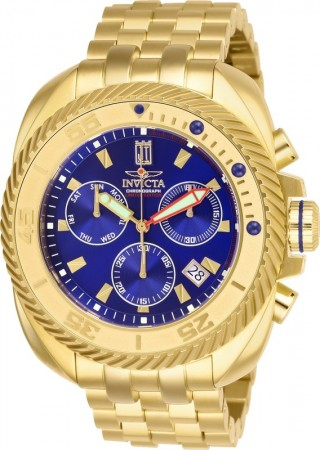 Men's Jason Taylor Blue Dial Gold Stainless Steel Band Quartz Watch