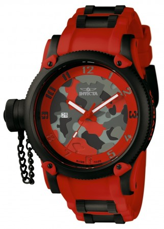 Men's Russian Diver Red Dial Red Polyurethane/Stainless Steel Band Quartz Watch