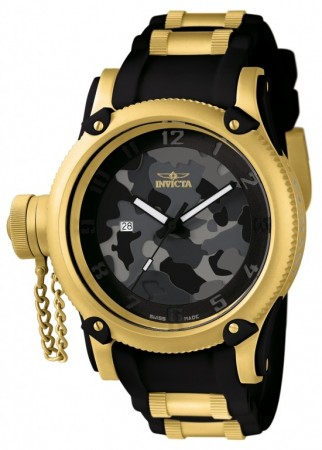 Men's Russian Diver Black Dial Black/Gold Inserts Polyurethane/Stainless Steel Band Quartz Watch