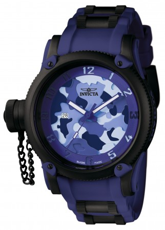 Men's Russian Diver Camouflage Dial Blue Polyurethane/Stainless Steel Band Quartz Watch