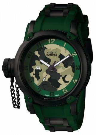 Men's Russian Diver Camouflage Dial Green Polyurethane/Stainless Steel Band Quartz Watch