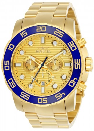 Men's Pro Diver Scuba Gold Dial Gold Stainless Steel Band Quartz Watch