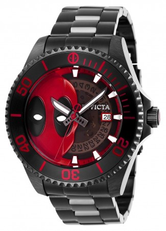 Men's Marvel Black Dial Black Stainless Steel Band Automatic Watch