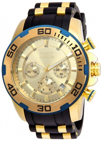 Men's Pro Diver Scuba Gold Dial Black/Gold Polyurethane/Stainless Steel Band Quartz Watch