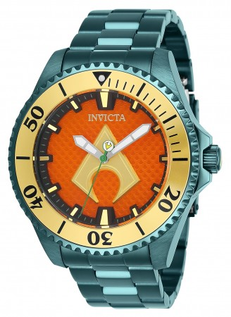 Men's Dc Comics Orange Dial Green Stainless Steel Band Automatic Watch