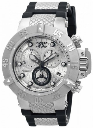 Men's Subaqua Noma Iii Silver Dial Black/Stainless Steel Polyurethane/Stainless Steel Band Quartz Watch