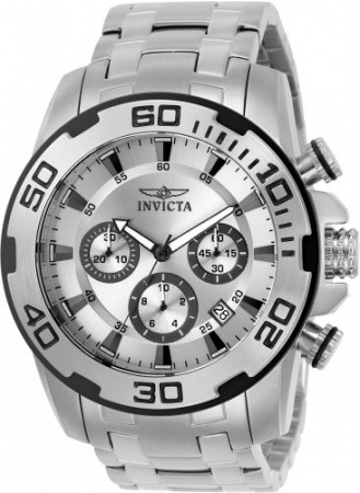 Men's Pro Diver Scuba Silver Dial Stainless Steel Stainless Steel Band Quartz Watch