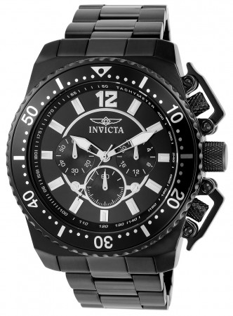 Men's Pro Diver Black Dial Black Stainless Steel Band Quartz Watch