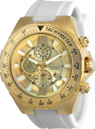 Men's Aviator Gold Dial White Silicon Band Quartz Watch