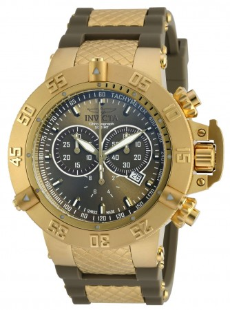 Men's Subaqua Green Dial Gold Polyurethane Band Quartz Watch
