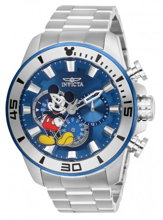 Men's Disney Mickey Mouse Blue Dial Stainless Steel Stainless Steel Band Quartz Watch