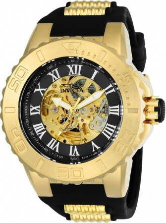 Men's Pro Diver Gold Dial Black/Gold Polyurethane/Stainless Steel Band Automatic Watch