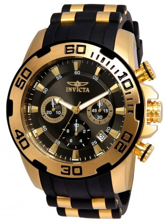 Men's Pro Diver Scuba Charcoal Dial Black/Gold Polyurethane/Stainless Steel Band Quartz Watch