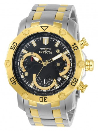 Men's Pro Diver Scuba Black Dial Gold/Stainless Steel Stainless Steel Band Quartz Watch