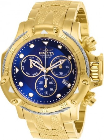 Men's Subaqua 3 Blue Dial Gold Stainless Steel Band Quartz Watch