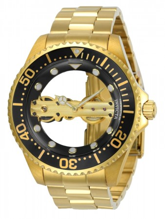 Men's Pro Diver Black Dial Gold Stainless Steel Band Mechanical Watch