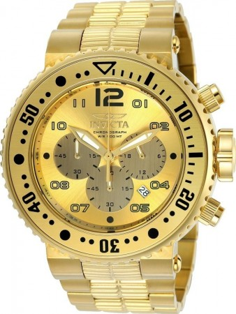Men's Pro Diver Gold Dial Gold Stainless Steel Band Quartz Watch