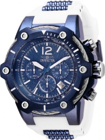 Men's Bolt Blue Dial White Silicon Band Quartz Watch