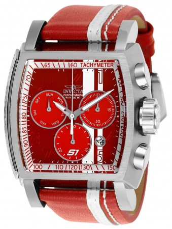 Men's S1 Rally Race Team Red/White Dial Red Leather Band Quartz Watch