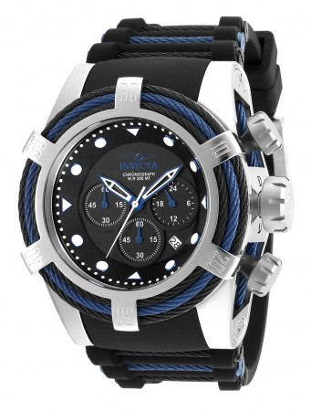 Men's Bolt Black Dial Black/Blue Polyurethane/Stainless Steel Band Quartz Watch