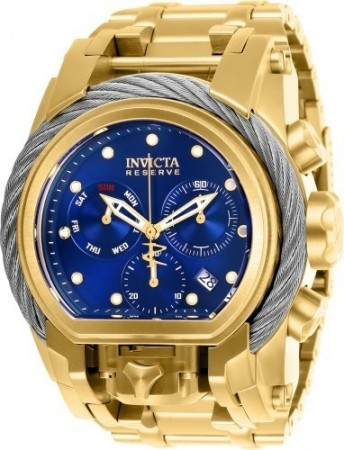 Men's Reserve Blue Dial Gold Stainless Steel Band Quartz Watch