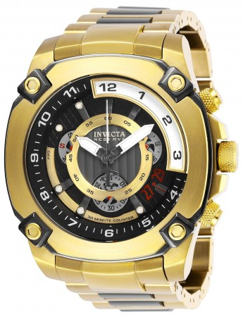 Men's Reserve Black Dial Gold/Gun Metal Stainless Steel Band Quartz Watch