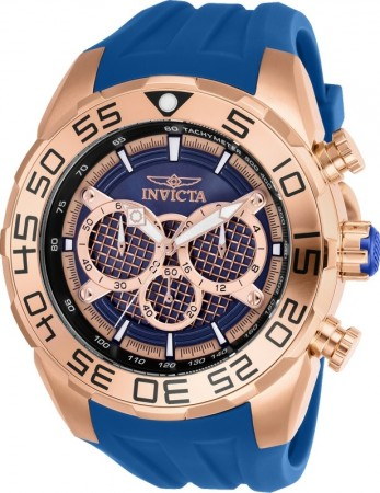 Men's Speedway Rose Gold Dial Blue Silicon Band Quartz Watch