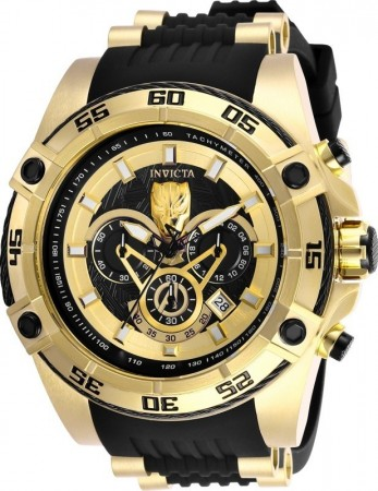 Men's Marvel Black Panther Black Dial Black/Gold Inserts Silicon Band Quartz Watch
