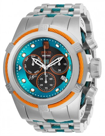 Men's Jason Taylor Excursion Blue Dial Stainless Steel/Blue Inserts Stainless Steel Band Quartz Watch