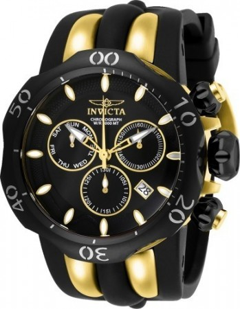 Men's Venom Black Dial Black/Yellow Silicon Band Quartz Watch