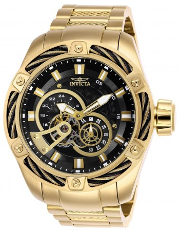 Men's Bolt Black Dial Gold Stainless Steel Band Automatic Watch